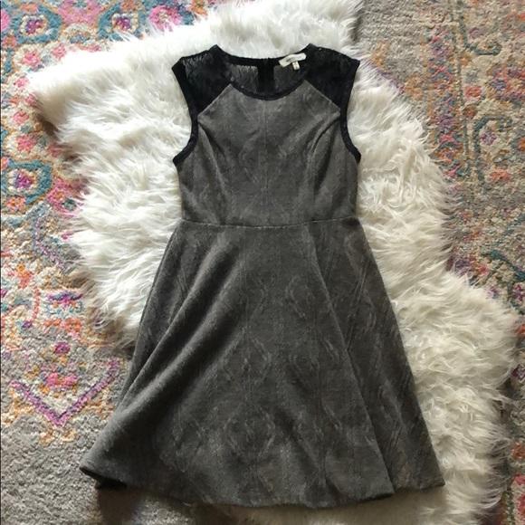 Monteau Dresses & Skirts - Grey knit dress with black lace details